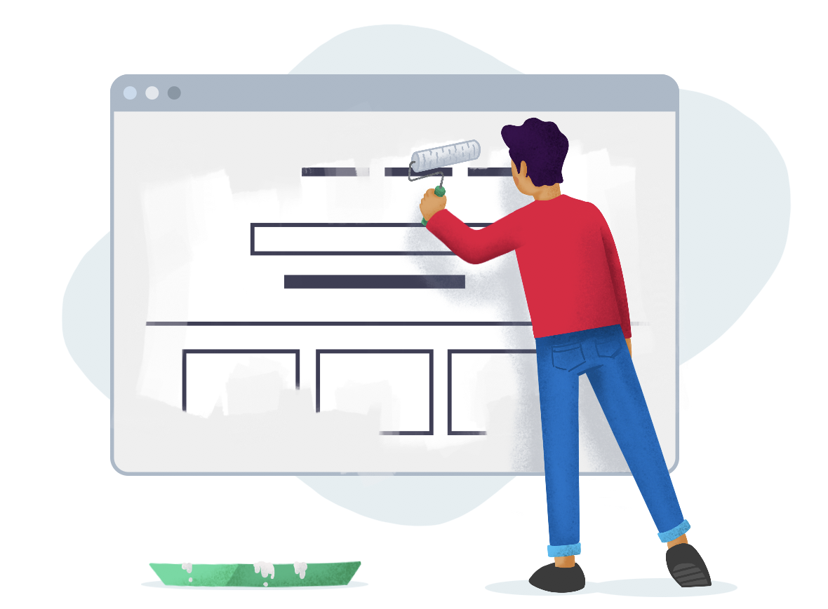 An illustration of a person painting a website