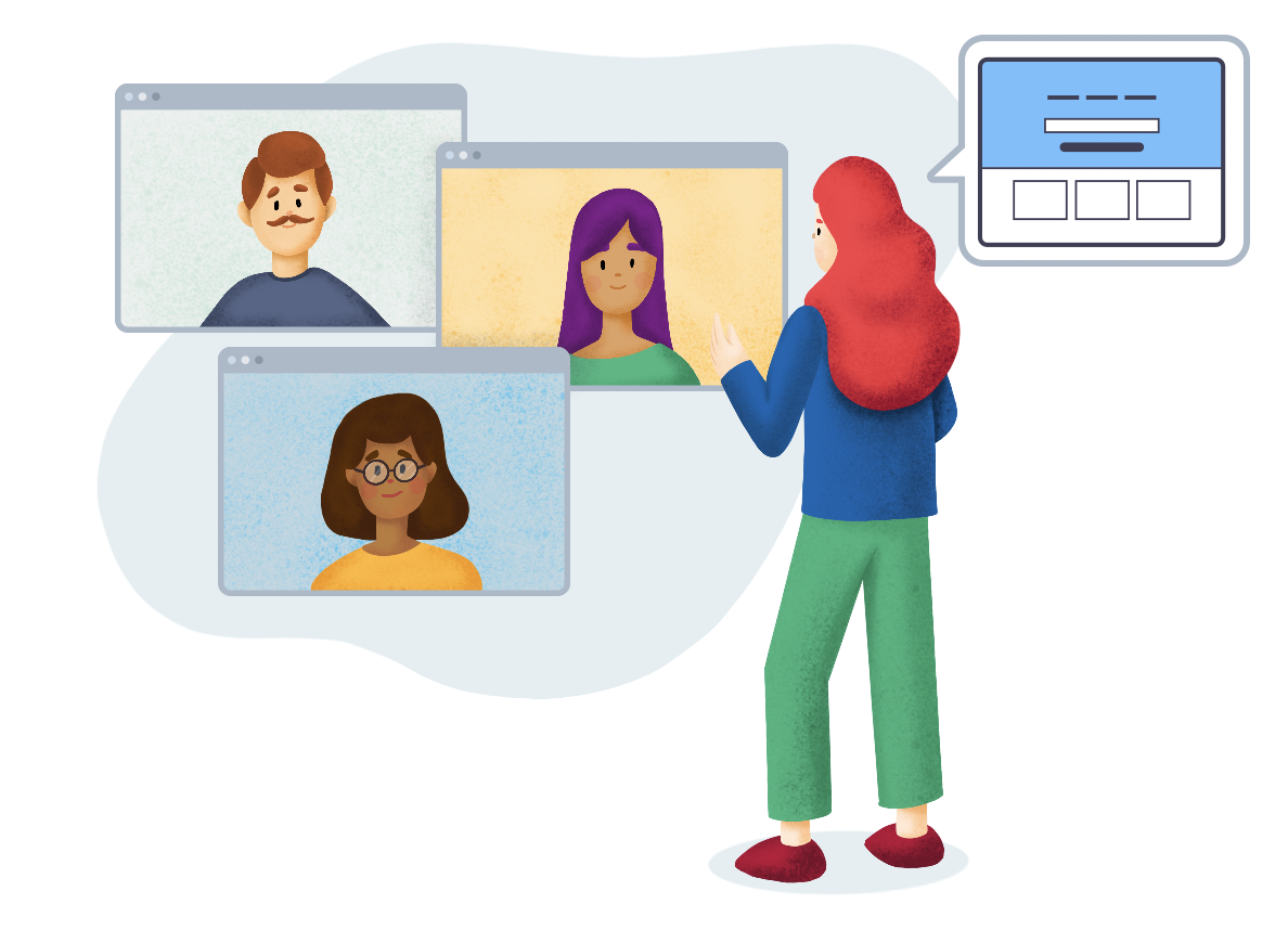 An illustration of a person giving a training to three persons on different screens