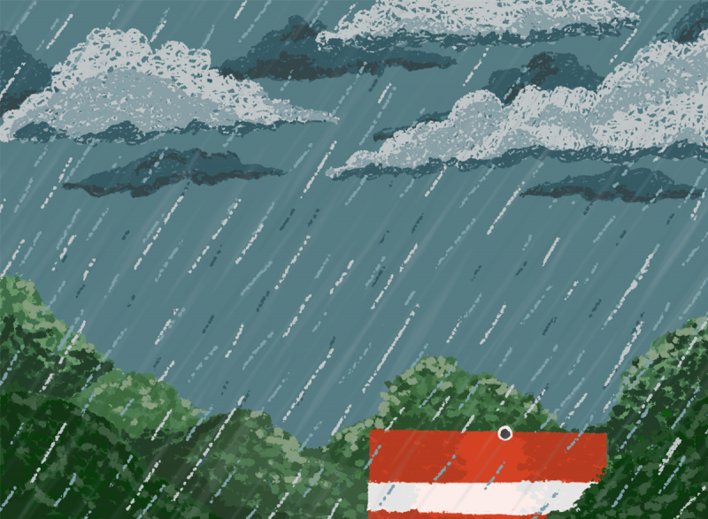 This is an illustration. It shows a raining landscape and a cistern for water collection.